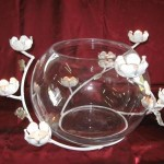 White Flower Candle holder With Glass Bowl